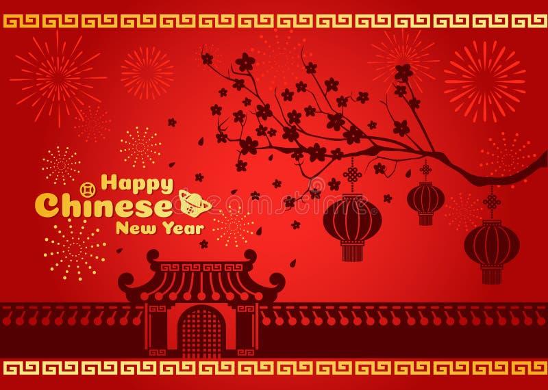 La tarjeta china feliz del Año Nuevo es linternas en el árbol y fuego artificial y las puertas y pared China libre illustration