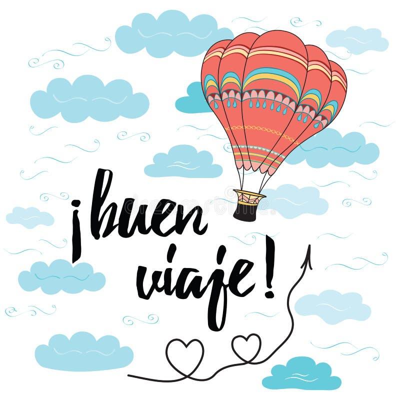 La tarjeta con viaje feliz del texto en lengua española adornó el globo del aire caliente stock de ilustración
