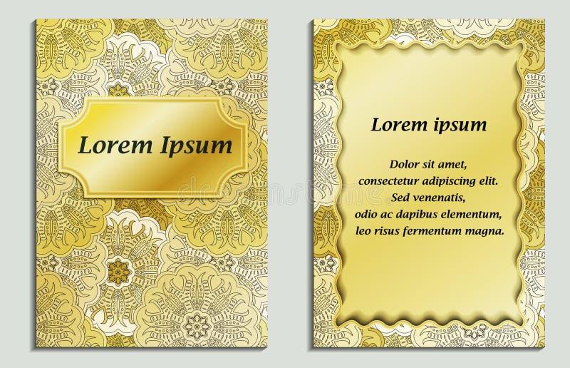 La tarjeta congratulatoria y la tarjeta de la invitación con la mandala diseñan en el estilo de oriental del vintage ilustración del vector