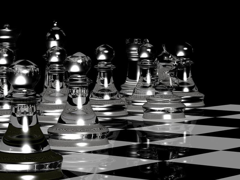 La tarjeta de ajedrez rinde en negro y blanco stock de ilustración