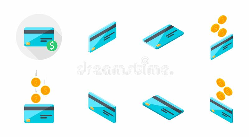 La tarjeta de crédito, gana el dinero, isométrico, moneda, finanzas, tarjeta de banco, negocio, vector, icono plano, paquete del  stock de ilustración