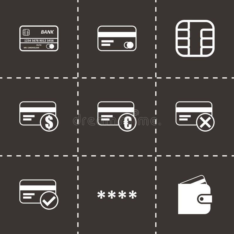 La tarjeta de crédito negra del vector observa los iconos fijados ilustración del vector