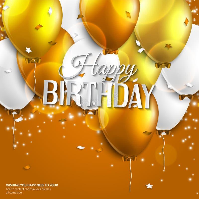 La tarjeta de cumpleaños con los globos y el cumpleaños mandan un SMS encendido libre illustration