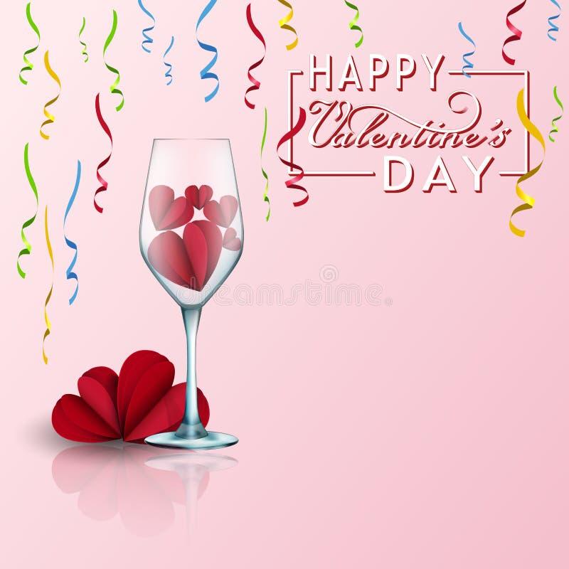 La tarjeta de día de San Valentín con el papel cortó corazones rojos y las cintas y vidrio coloridos elementos realistas 3d del a ilustración del vector