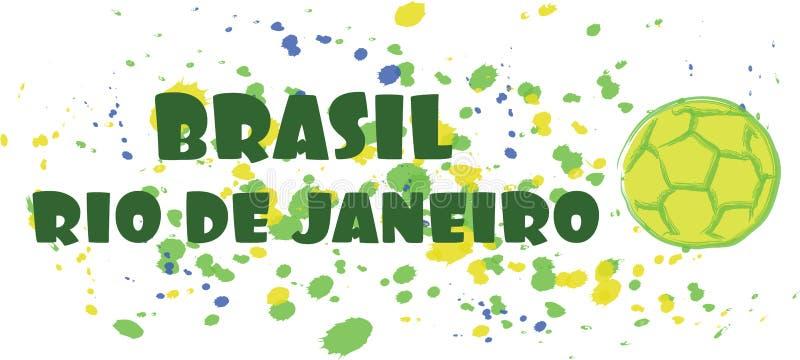 La tarjeta de deporte del Brasil, Río de Janeiro con el balón de fútbol sobre chapoteo pintó el fondo libre illustration