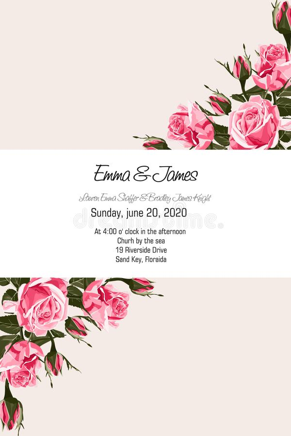 La tarjeta de felicitación con las rosas rosadas blandas, estilo de la acuarela, se puede utilizar como tarjeta de la invitación  stock de ilustración