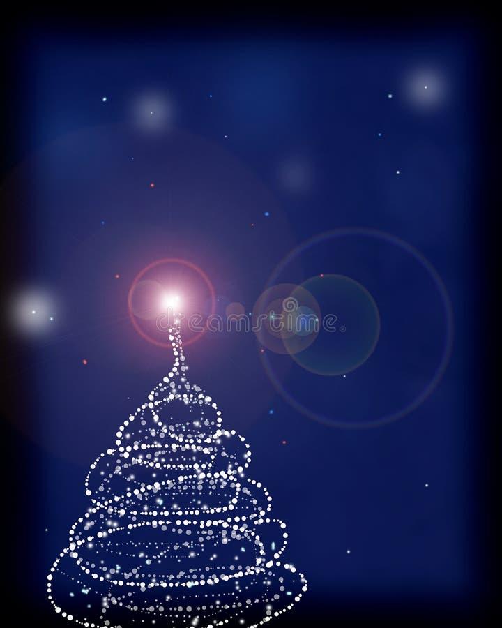 La tarjeta de felicitación con un árbol de navidad y algo chispea libre illustration
