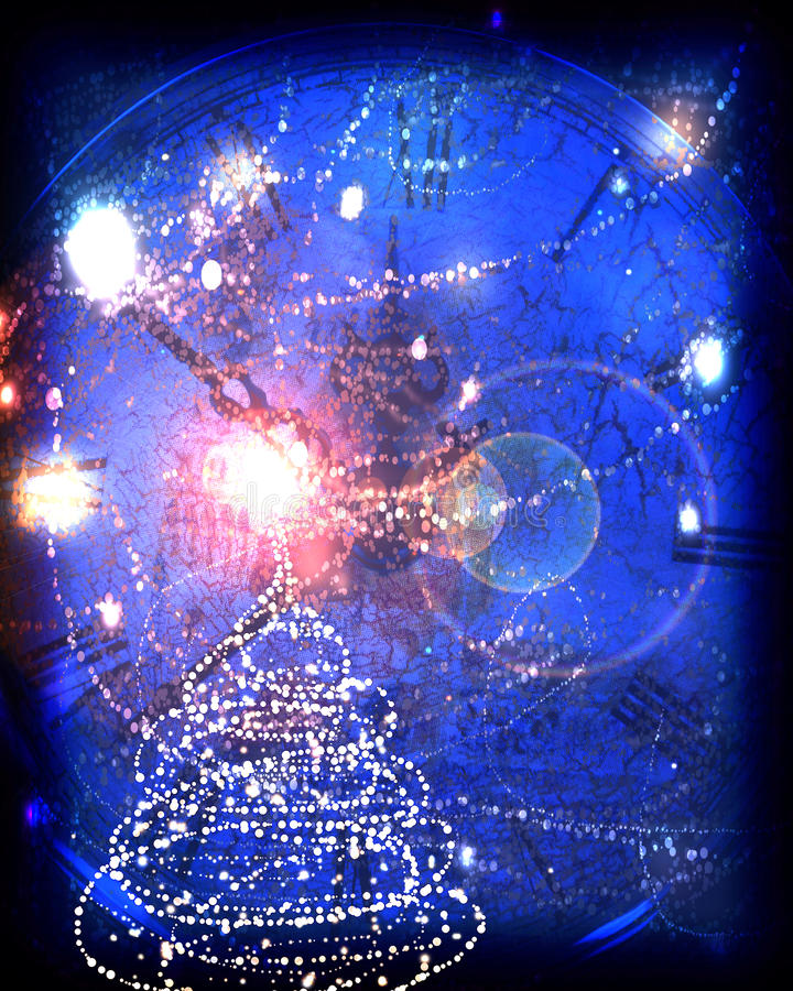 La tarjeta de felicitación con un árbol de navidad y algo chispea ilustración del vector