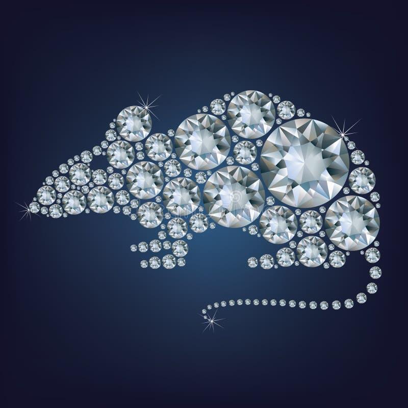 La tarjeta de felicitación creativa de la Feliz Año Nuevo 2020 con la rata compuso muchos diamantes stock de ilustración