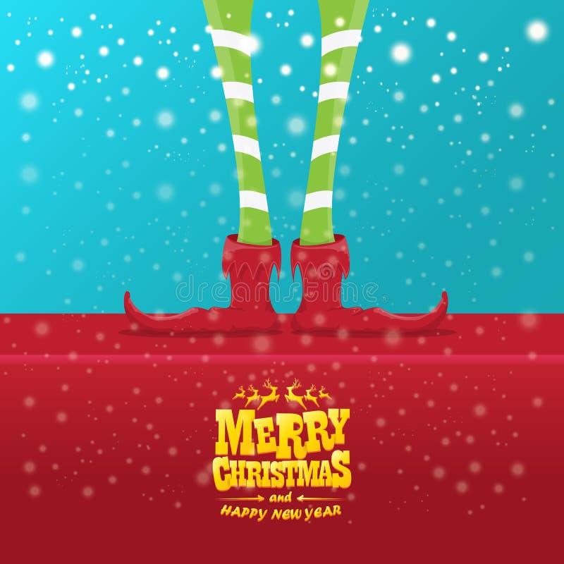 La tarjeta de felicitación creativa de la Feliz Navidad del vector con las piernas de los elfs de la historieta, los zapatos del  stock de ilustración