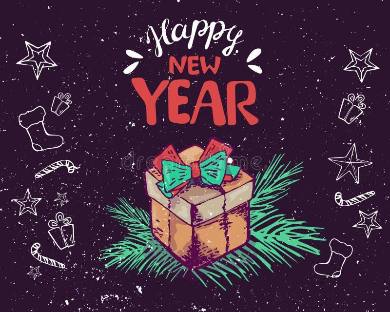 La tarjeta 2019 de felicitación del Año Nuevo adorna la caja de regalo, rama Ilustración del vector Poner letras a Feliz Año Nuev stock de ilustración