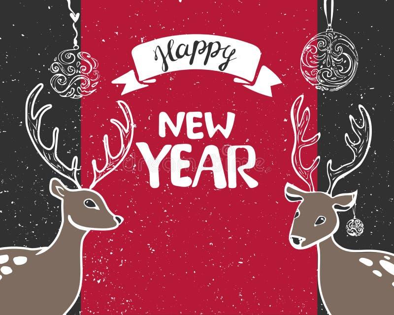 La tarjeta 2018 de felicitación del Año Nuevo adorna la caja y serpentina de regalo, las bolas y las estrellas del oro, rama y co stock de ilustración