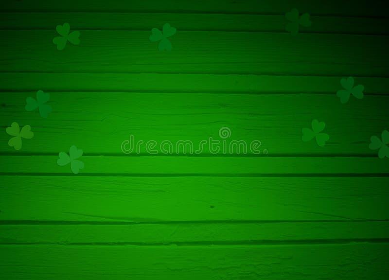 La tarjeta de felicitación del día del St Patricks, imita encima de escena con el espacio vacío, el fondo de madera y las hojas d ilustración del vector