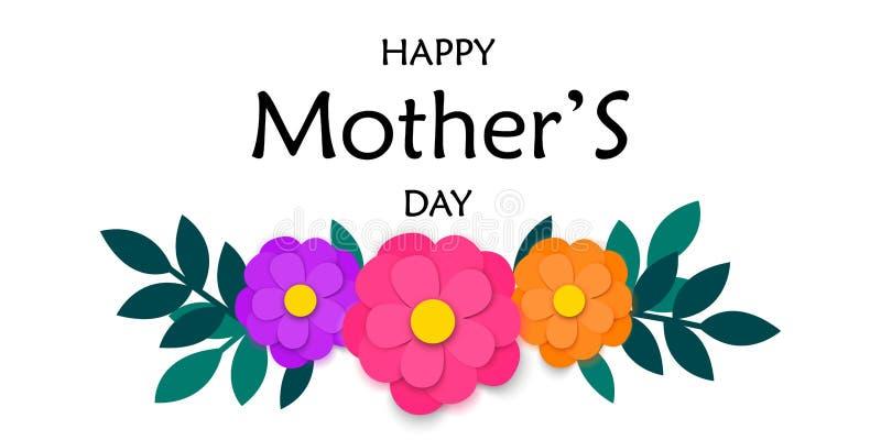 La tarjeta de felicitación del día de madres con el papel colorido cortó las flores y la guirnalda verde de las hojas aisladas en stock de ilustración