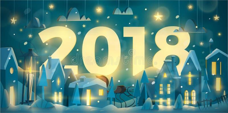 La tarjeta de felicitación del invierno por Año Nuevo celebra ilustración del vector