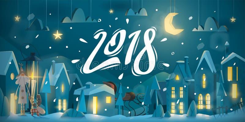 La tarjeta de felicitación del invierno por Año Nuevo celebra libre illustration