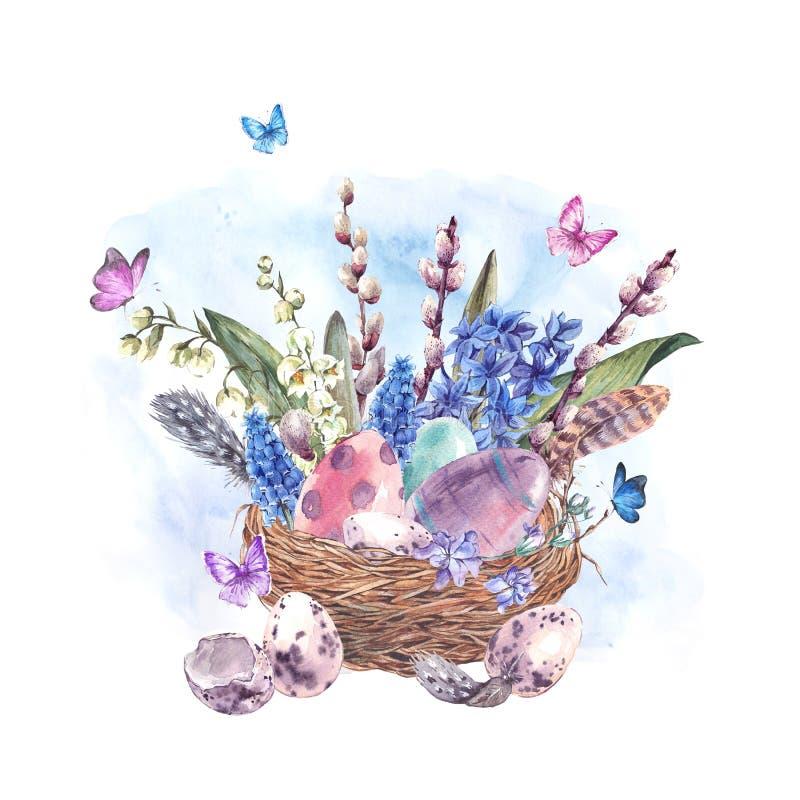 La tarjeta de felicitación feliz de Pascua de la acuarela, primavera florece el ramo stock de ilustración