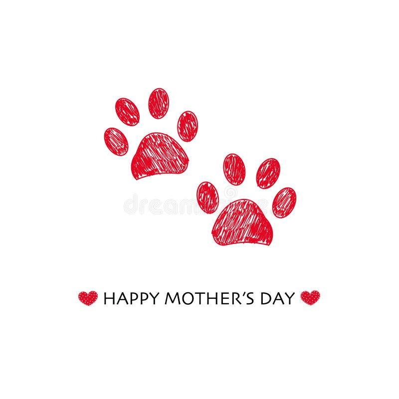 La tarjeta de felicitación feliz del día de madre con la pata coloreada roja exhausta de la mano imprime el ejemplo del vector stock de ilustración