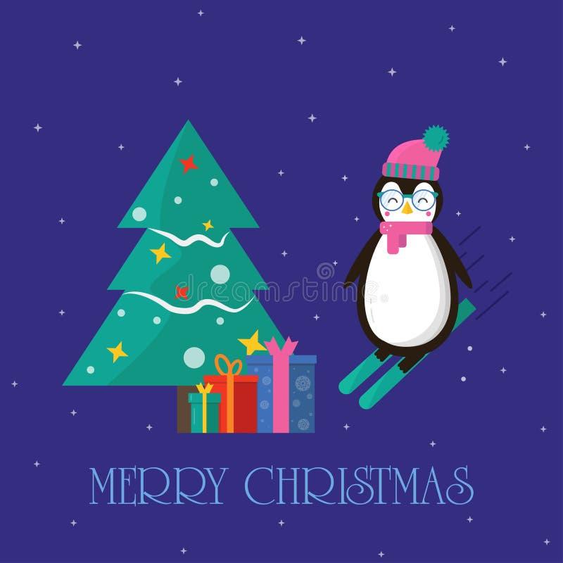 La tarjeta de felicitación de la Feliz Navidad con el pingüino en el esquí con presen libre illustration