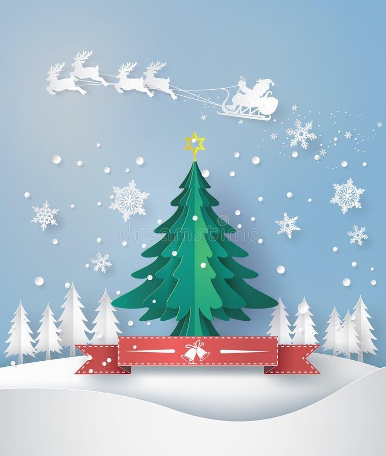 La tarjeta de felicitación de la Feliz Navidad con papiroflexia hizo el árbol de navidad libre illustration