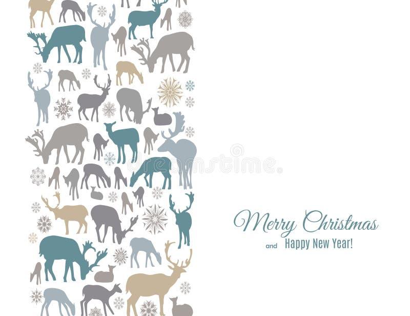 La tarjeta de felicitación de la Feliz Navidad y de la Feliz Año Nuevo con los ciervos y los copos de nieve modela la frontera ve libre illustration