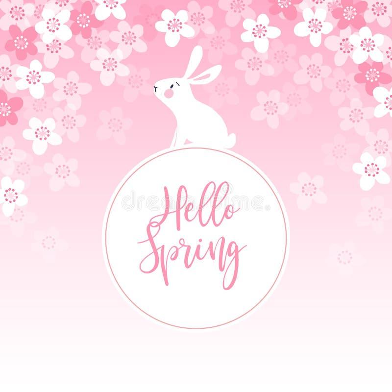 La tarjeta de felicitación linda de la primavera, la invitación con el conejo blanco, el conejito y el cerezo florece Concepto de stock de ilustración
