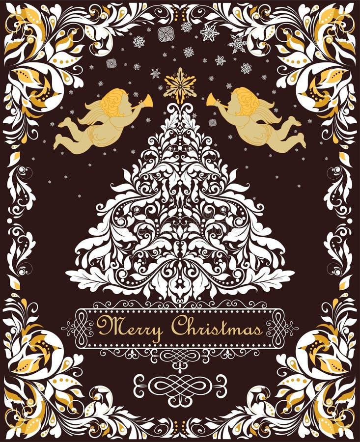 La tarjeta de felicitación mágica de la Navidad con el papel cortó el árbol blanco floral de Navidad, ángeles del oro y el marco  libre illustration