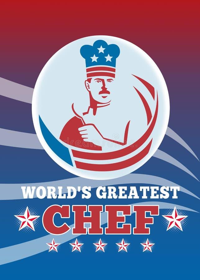 La tarjeta de felicitación más grande del cocinero del mundo ilustración del vector
