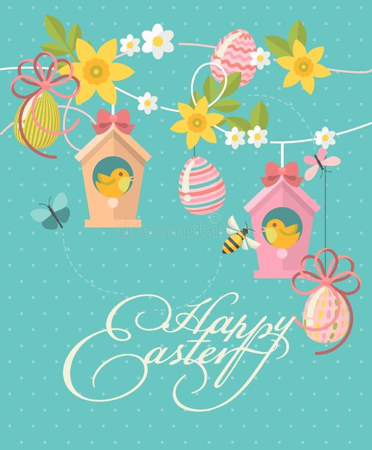 La tarjeta de felicitación moderna feliz de Pascua en colores en colores pastel con los huevos, las flores de la primavera y los  libre illustration