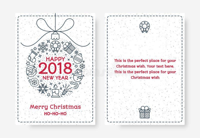 La tarjeta de felicitación de la Navidad fijó con la muestra compuesto 2018 de la bola feliz ilustración del vector
