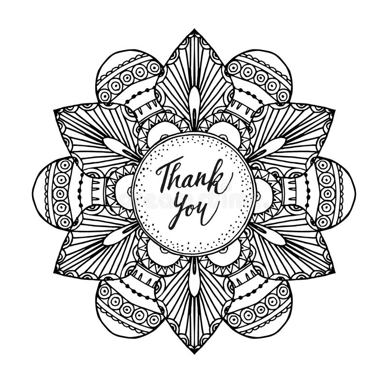 La tarjeta de felicitación ornamental con la mandala inspirada zentangle dibujada mano y le agradece mandar un SMS, línea arte ilustración del vector