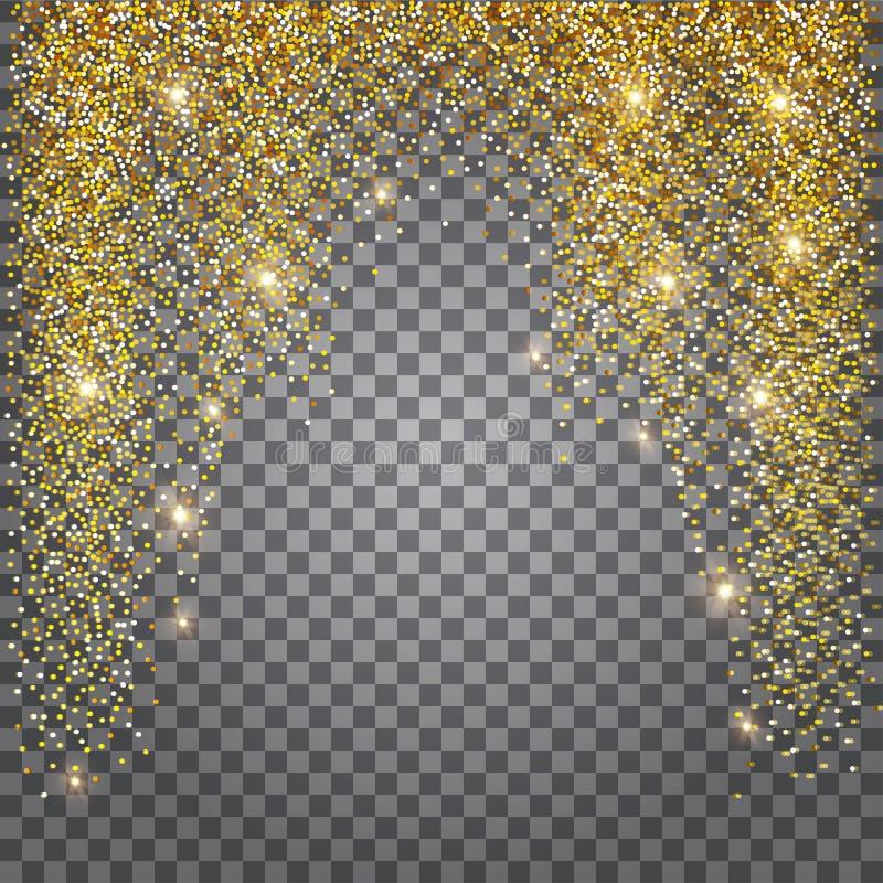 La tarjeta de felicitación, riela el fondo de oro Malla brillante del oro ilustración del vector