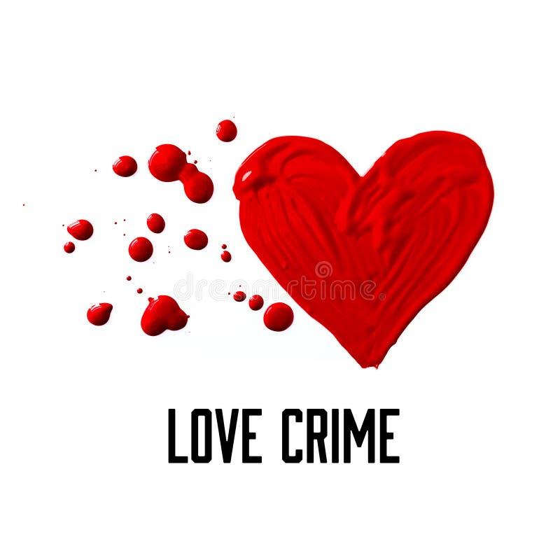 La tarjeta de felicitación roja líquida del corazón con las palabras AMA CRIMEN stock de ilustración