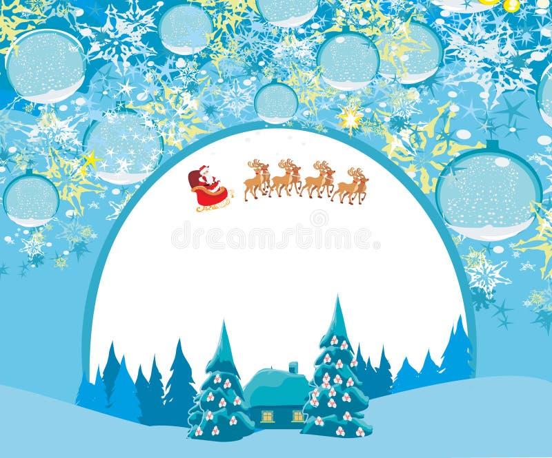 La tarjeta de la Feliz Año Nuevo con Papá Noel y el invierno ajardinan libre illustration