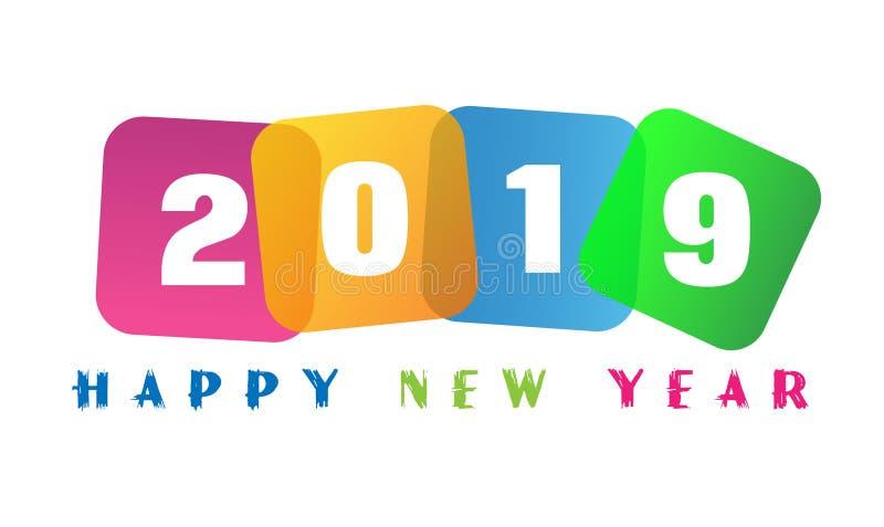 La tarjeta de la Feliz Año Nuevo 2019 y el texto del saludo diseñan ilustración del vector