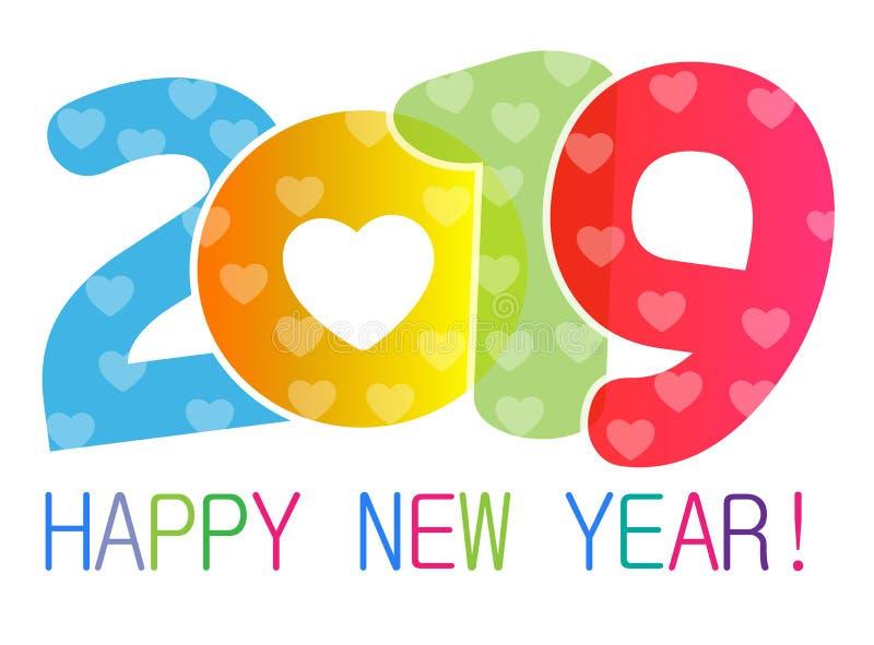 La tarjeta de la Feliz Año Nuevo 2019 y el texto del saludo diseñan con los corazones para los amantes stock de ilustración