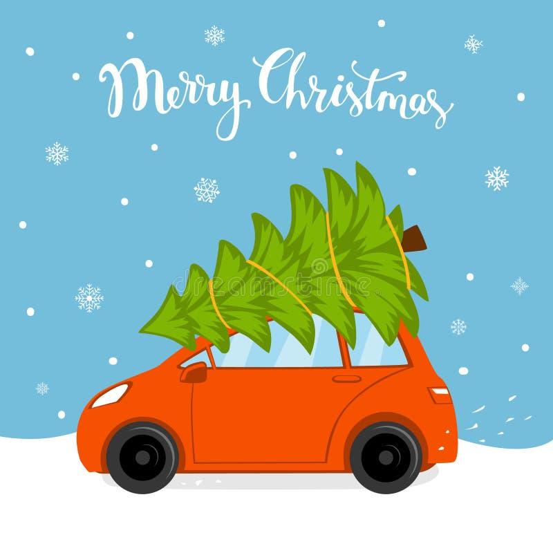 La tarjeta de la historieta de la Feliz Navidad con la conducción de automóviles a casa para Navidad con el árbol de pino limita  libre illustration