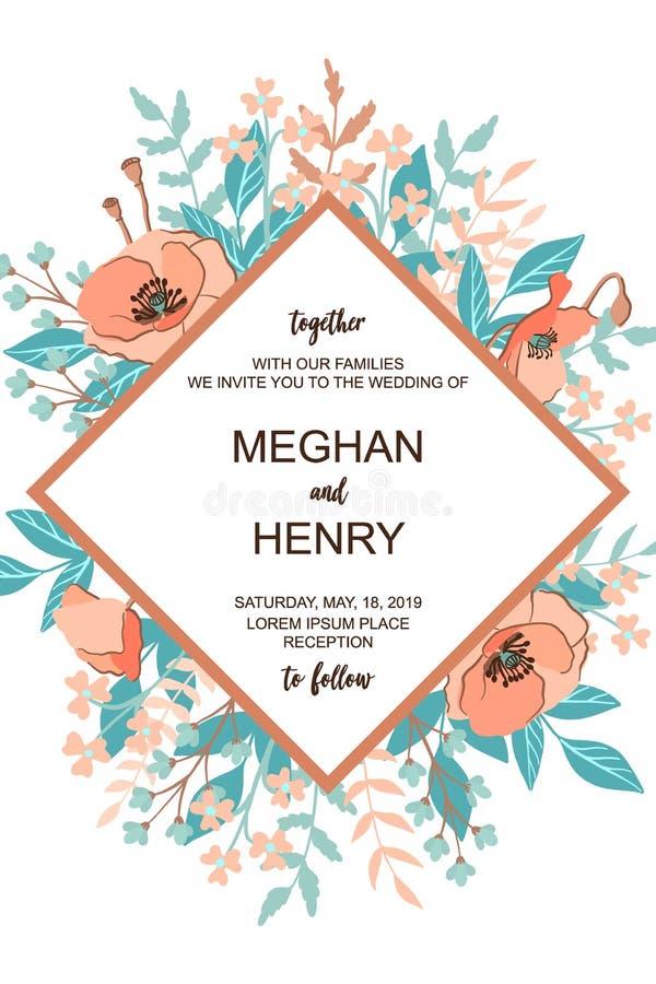 La tarjeta de la invitación de la boda de la obra clásica y de Refind con el fondo del marco de la flor, elementos florales exhau libre illustration