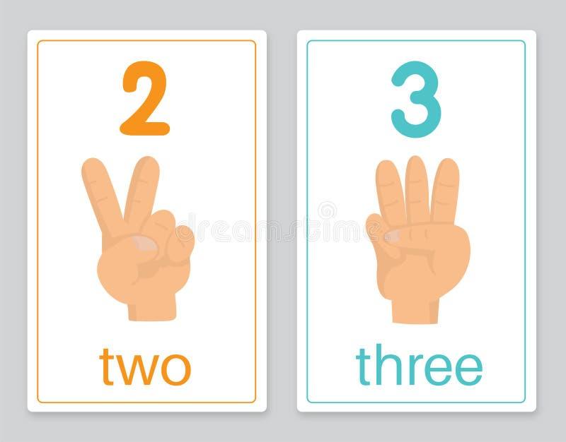 La tarjeta 2-3 de la palabra stock de ilustración