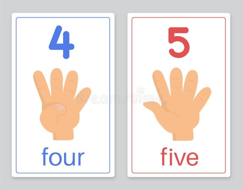 La tarjeta 4-5 de la palabra ilustración del vector
