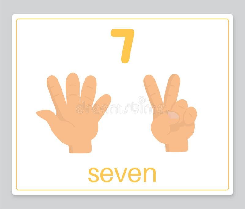 La tarjeta 7 de la palabra ilustración del vector