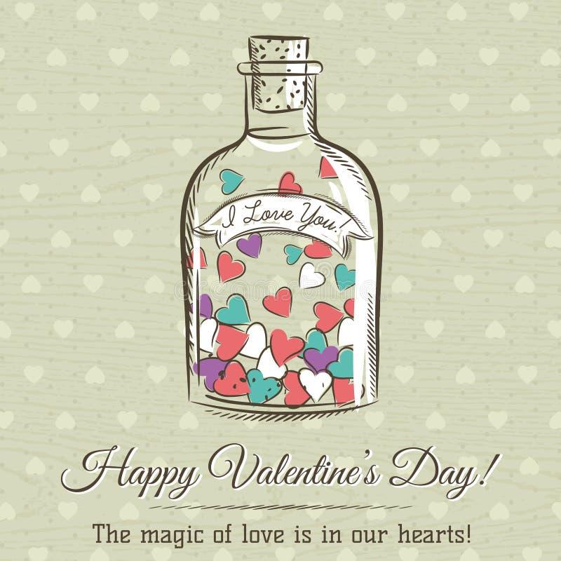 La tarjeta de la tarjeta del día de San Valentín con el tarro llenado de los corazones y los deseos mandan un SMS stock de ilustración