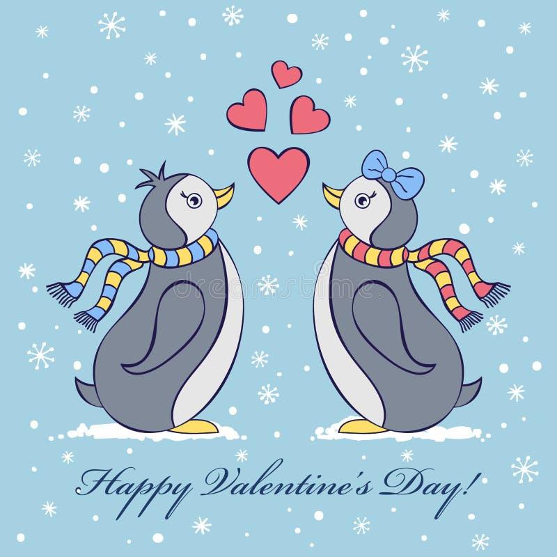 La tarjeta de la tarjeta del día de San Valentín con penguines ilustración del vector