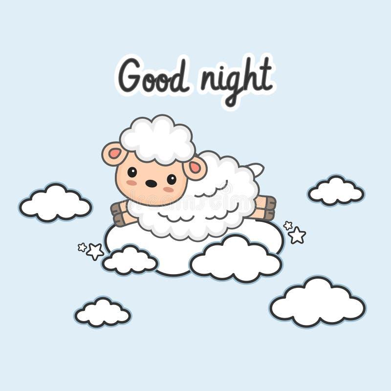La tarjeta de las buenas noches con pocas ovejas salta en las nubes Ilustraci?n del vector stock de ilustración