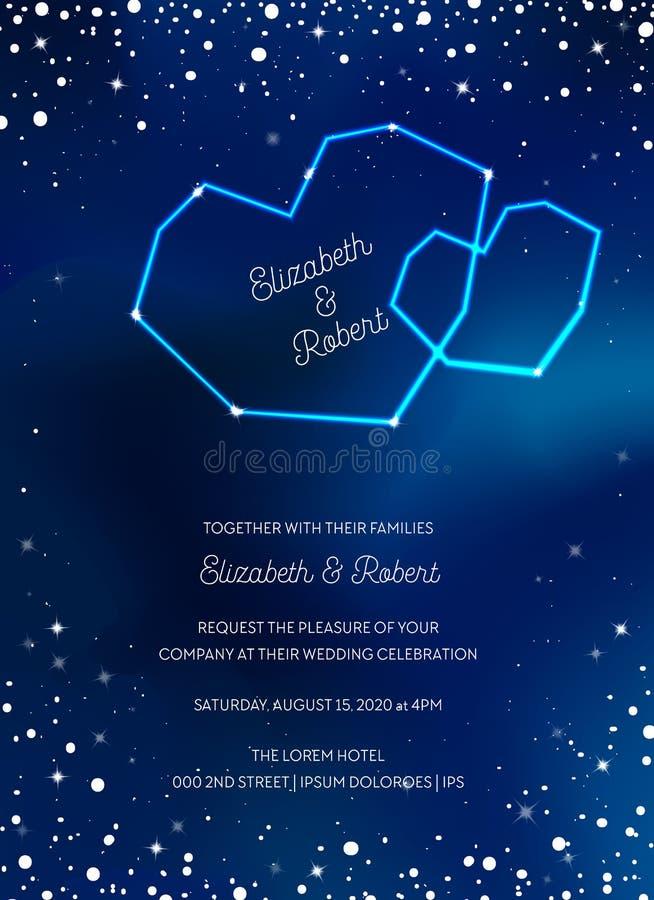 La tarjeta de moda de la invitación de la boda del cielo nocturno, ahorra la fecha Celestial Template con la luna, estrellas, gal stock de ilustración