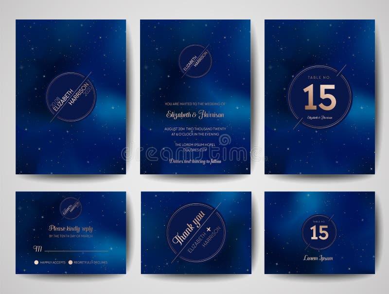 La tarjeta de moda de la invitación de la boda del cielo nocturno estrellado, ahorra el monograma Celestial Template de la fecha  ilustración del vector