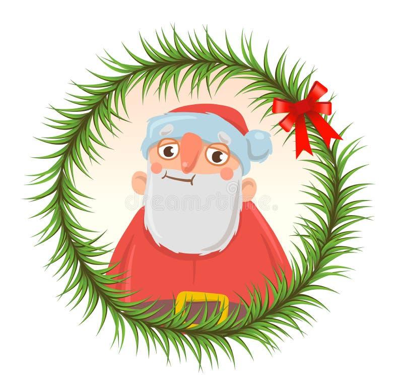 La tarjeta de Navidad con Santa Claus divertida en el marco redondo del abeto ramifica libre illustration