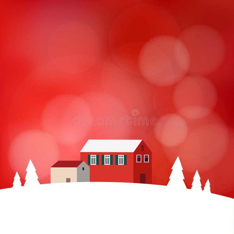 La tarjeta de Navidad, invitación con paisaje nevoso, casas, empañó el fondo ilustración del vector
