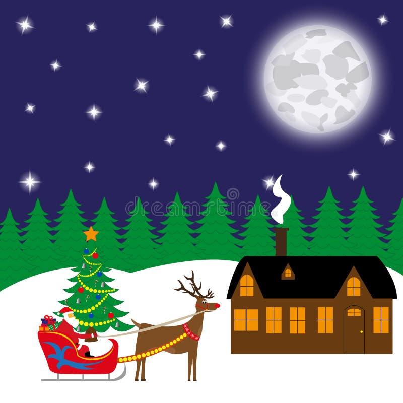 La tarjeta de Navidad, Santa Claus lleva los regalos en un trineo stock de ilustración