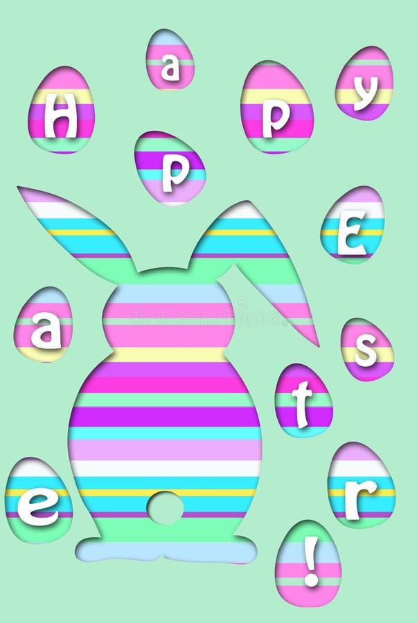 La tarjeta de pascua con el conejo rayado colorido y los huevos forman ilustración del vector